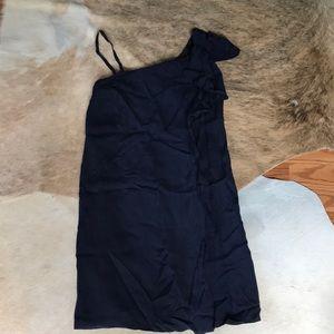 Red Valentino Navy Silk One Shoulder Dress Size 2